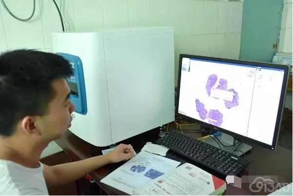 淅川县第二人民医院工作人员正在进行数字切片远程会诊